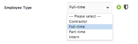 Custom employee type drop down