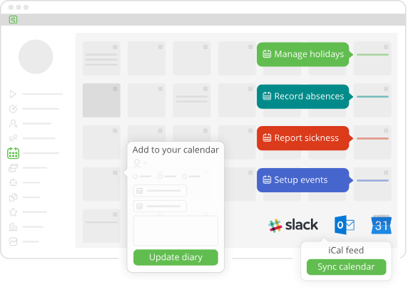 Image showing the calendar and the main things you can use it for including managing holidays, recording absences, reporting sickness and setting up events
