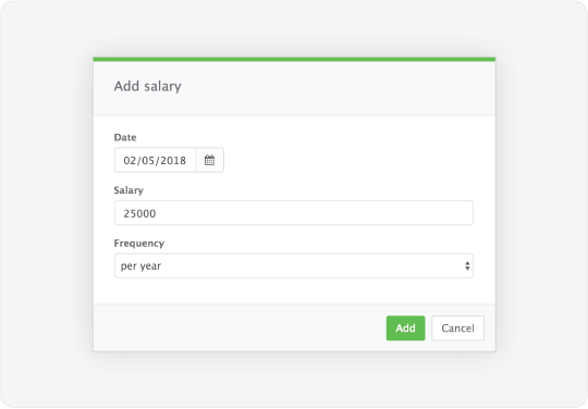 Image showing a dialog that allows admins to change salaries for particular members of staff
