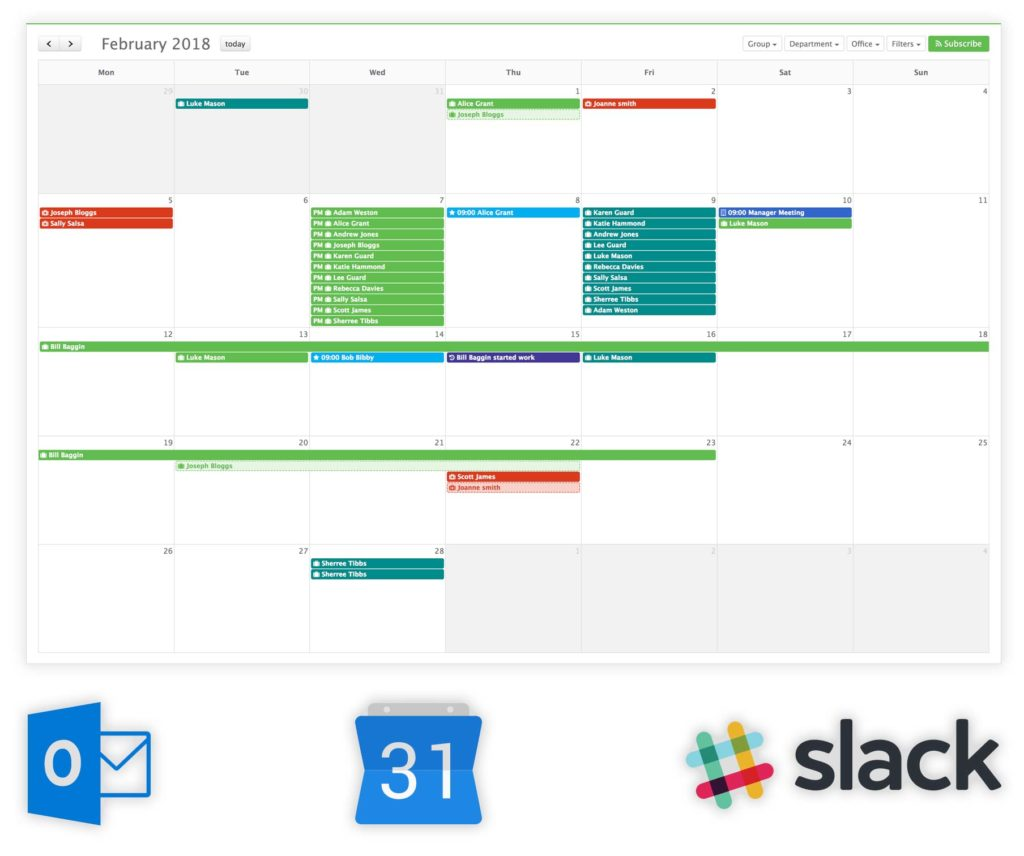 Image showing the Staff Squared calendar along with Outlook, Google Calendar and Slack icons