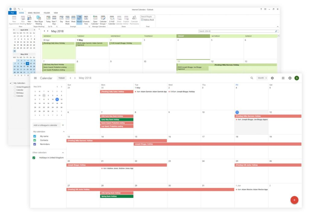 Image showing Google and Outlook calendar interfaces