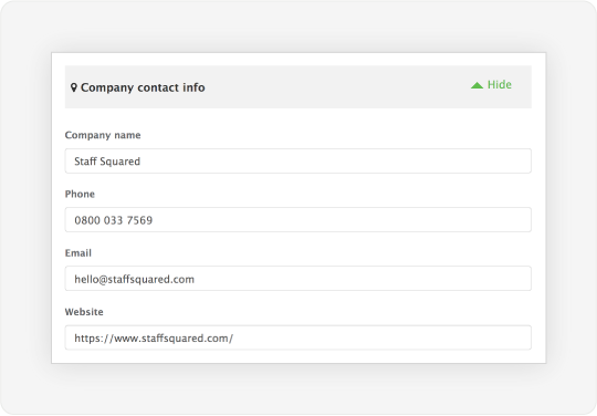 Image showing a dialog that allows admins to store company details that are visible to all staff