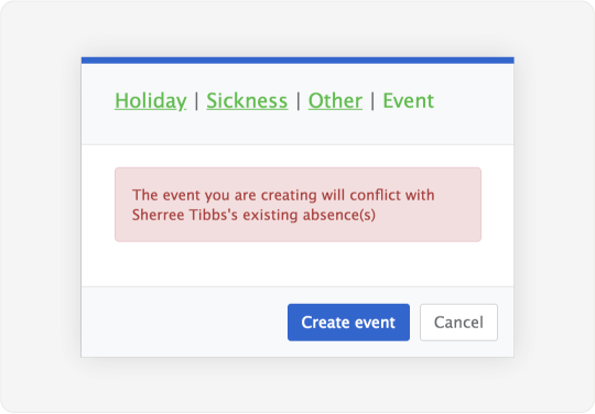 Image showing a dialog that warns admins of double-booked events