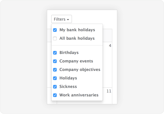 Image showing the filter by event type on the Staff Squared calendar