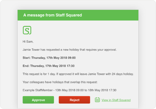 Image showing an email that managers receive to notify them of a holiday booking so they can approve or reject the request