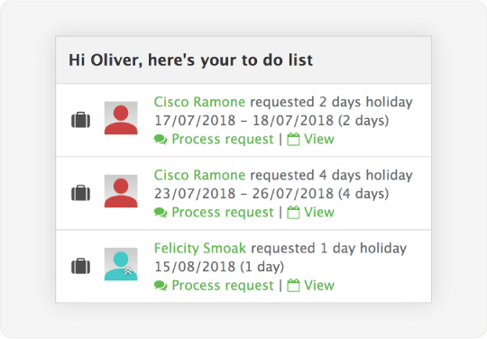 Image showing notifications for employee time off that is shown to admins and managers who can approve or reject the requests