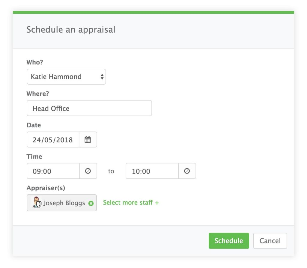 Image showing a dialog that allows admins to schedule a new appraisal with a member of staff