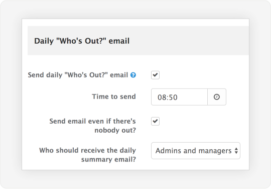 Image showing a screen that allows admins to control daily