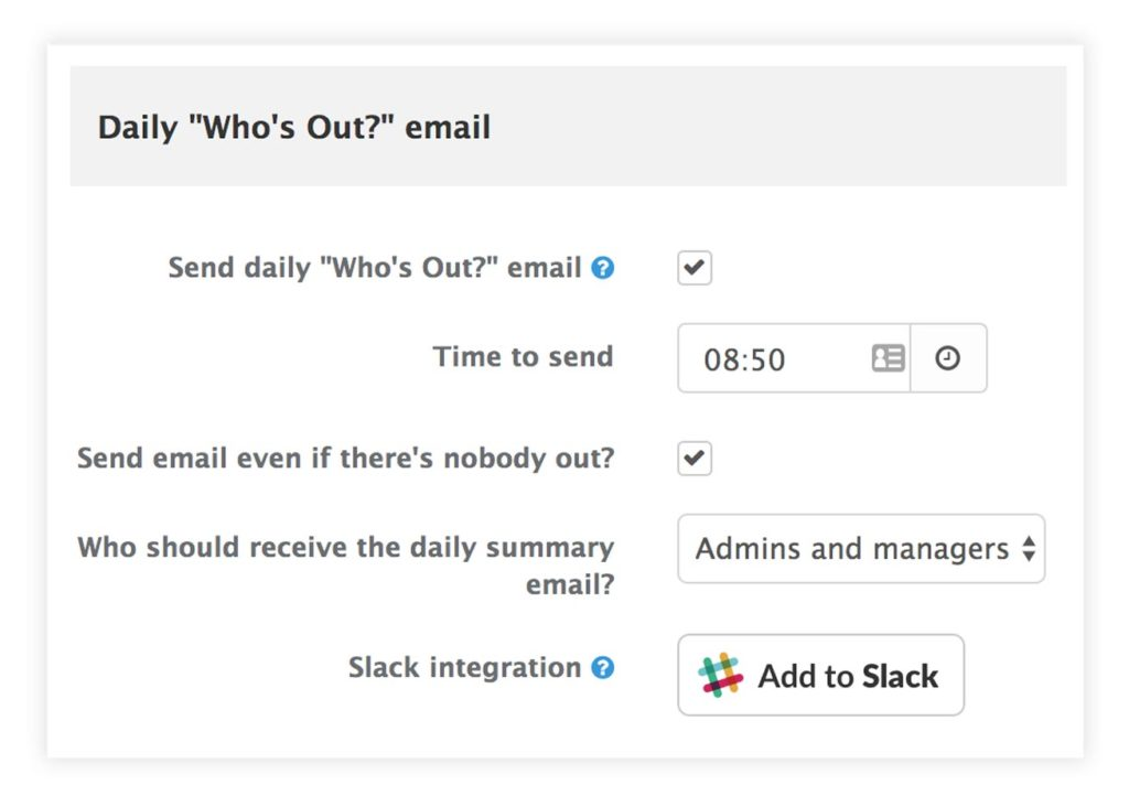 Image showing a dialog that allows users to control daily email reminders and to connect Staff Squared with Slack