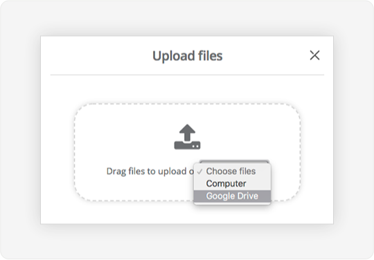 Image showing the upload files button on the documents page that allows admins to upload documents via Google Drive